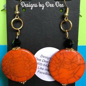 Gold Tone Hook & Bead Drop Earrings